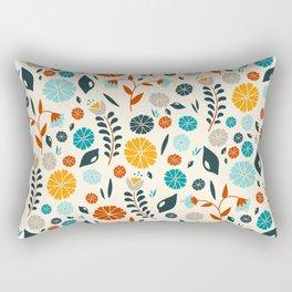 Colorful Spring Flowers Pattern Rectangular Pillow