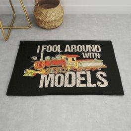 I Fool Around With Models TShirt Train Railfan Men Boys Kids Train Lover & Model Locomotive Gifts Rug