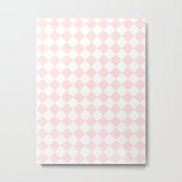 Diamonds - White and Pastel Pink Metal Print