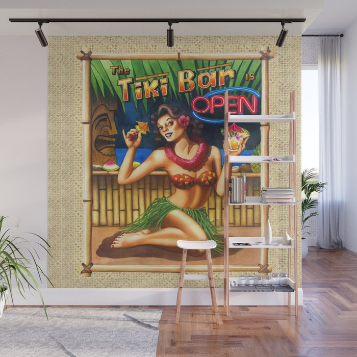 Tiki Bar is Open Wall Mural