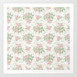 Pink Dogroses on White Art Print