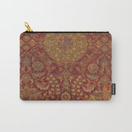 Boho Funky III // 16th Century Distressed Red Green Blue Flowery Colorful Ornate Rug Pattern Carry-All Pouch