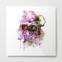 Camera in flowers Metal Print