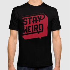 STAY WEIRD Black 2X-LARGE Mens Fitted Tee