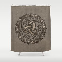 Odin's Horn - Beige Leather and gold Shower Curtain