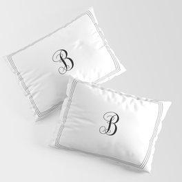 Monogram Letter B in Black with Triple Border Pillow Sham