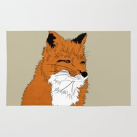 mr fox Area & Throw Rugs featuring Mr Fox by Simone Clark