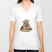 yoda V-neck T-shirts featuring Yoda by Rocío Gómez