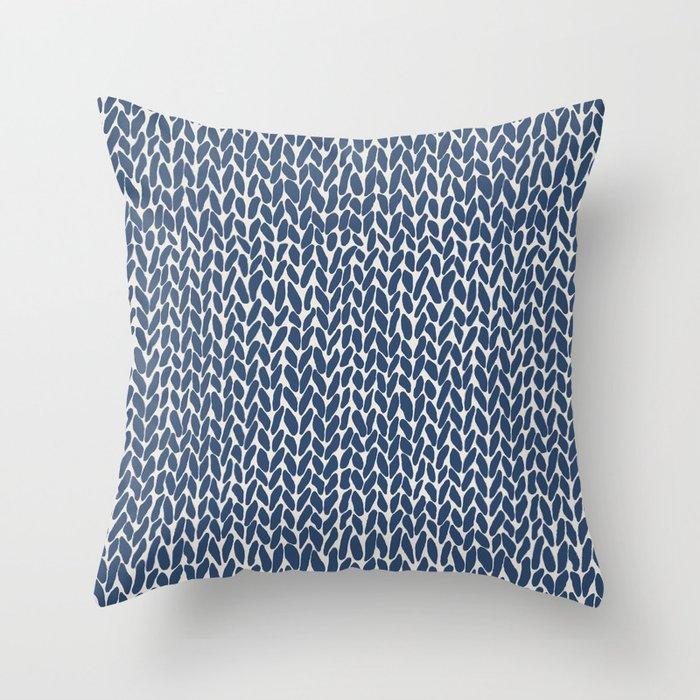 Hand Knit Navy Throw Pillow