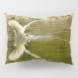 The heron lays on the placid river... Pillow Sham