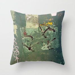 Urban Abstract in Green Throw Pillow