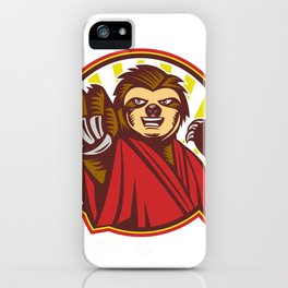 Sloth Fighter Self Defense Circle Mascot iPhone Case