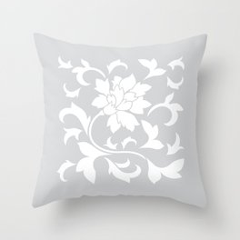 Oriental Flower - Silver Throw Pillow