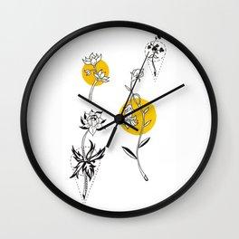 Wildflowers Circular Gold Ink Illustration Wall Clock