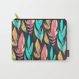 Summer Colorful Tropical Leaves Green Orange Carry-All Pouch