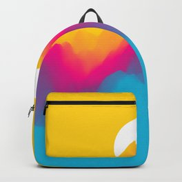 Landscape With Mountains And Sun. Sunset. Mountainous Terrain. Abstract Background & Illustration Backpack