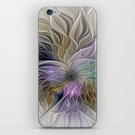 Abstract Flower, Colorful Floral Fractal Art iPhone Skin