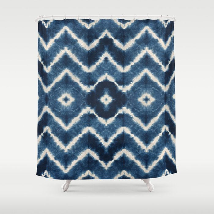 Shibori Tie Dye Chevron Print Shower Curtain