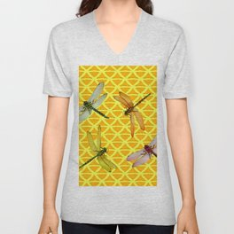 DRAGONFLIES PATTERNED YELLOW-BROWN ORIENTAL SCREEN Unisex V-Neck