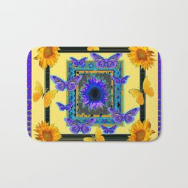 PURPLE BUTTERFLIES SUNFLOWERS MODERN ART Bath Mat