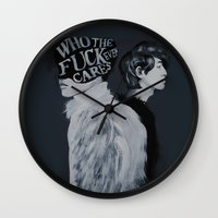 kpop Wall Clocks featuring Who The F**k by Julia C. Elliott