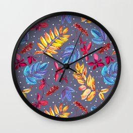 Winter seamless pattern with rowan berry and leaves and snow watercolor. Wall Clock