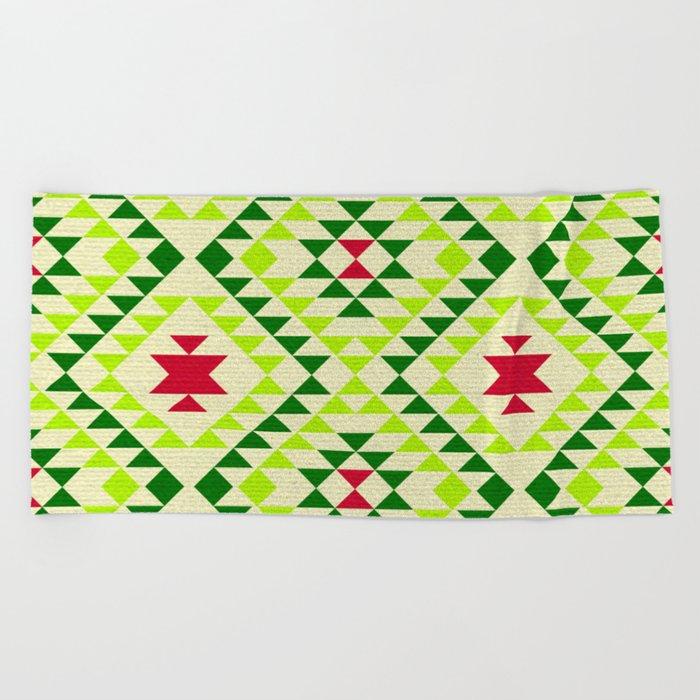 Tribal geometric pattern - green Beach Towel