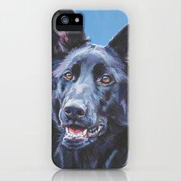 black German Shepherd dog portrait art from an original painting by L.A.Shepard iPhone Case