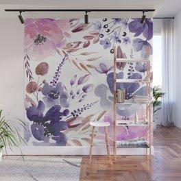 Watercolor giant flowers Wall Mural