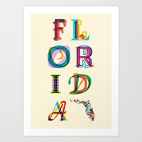 florida Art Prints featuring Florida by Fimbis