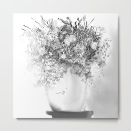 Silver and Black Bouquet Metal Print
