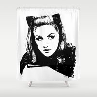 catwoman Shower Curtains featuring Catwoman by Bad Taste