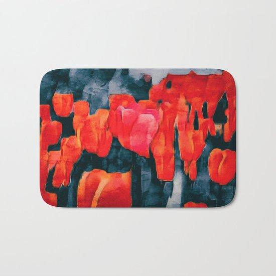 Tulip Field at Night Bath Mat