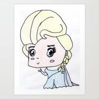 frozen elsa Art Prints featuring Elsa, Frozen. by Maisy W