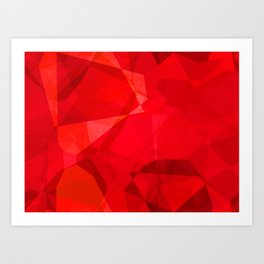 Mottled Red Poinsettia 2 Abstract Polygons 2 Art Print