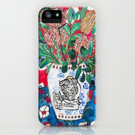 Rex Manning Day Red Floral Still Life with Lion Vase iPhone Case