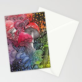 Rainbow Mushroom Composition | Watercolor Illustration Stationery Cards