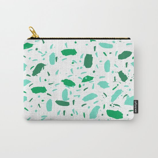 Abstract minimal dots pattern green and white soothing zen decor Carry-All Pouch