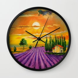 Lavender field at sunset Wall Clock