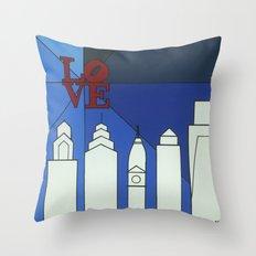 blue LOVE shine Throw Pillow