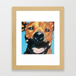 Happy Dog Bruno Framed Art Print
