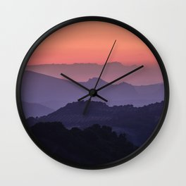 Purple sunset at the mountains. Last night Wall Clock