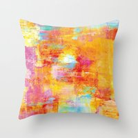 clueless Throw Pillows featuring OFF THE GRID Colorful Pastel Neon Abstract Watercolor Acrylic Textural Art Painting Nature Rainbow  by EbiEmporium