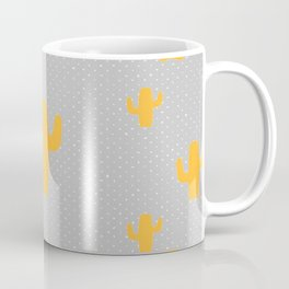 Mustard Cactus White Poka Dots in Gray Background Pattern Coffee Mug
