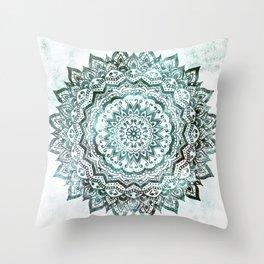 Emerald Jewel Mandala Throw Pillow