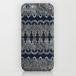 Silvery Striped Doodle iPhone Case