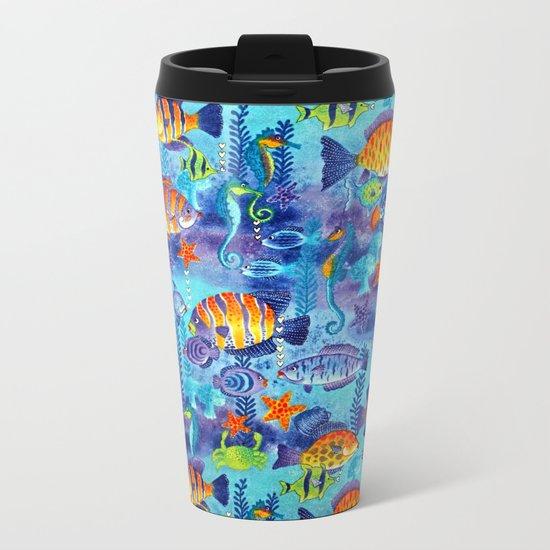 Underwater cartoon cute pattern Metal Travel Mug