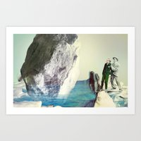 attention, ice Art Print