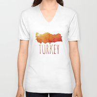 turkey V-neck T-shirts featuring Turkey by Stephanie Wittenburg