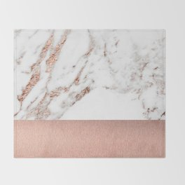 Rose gold marble and foil Throw Blanket